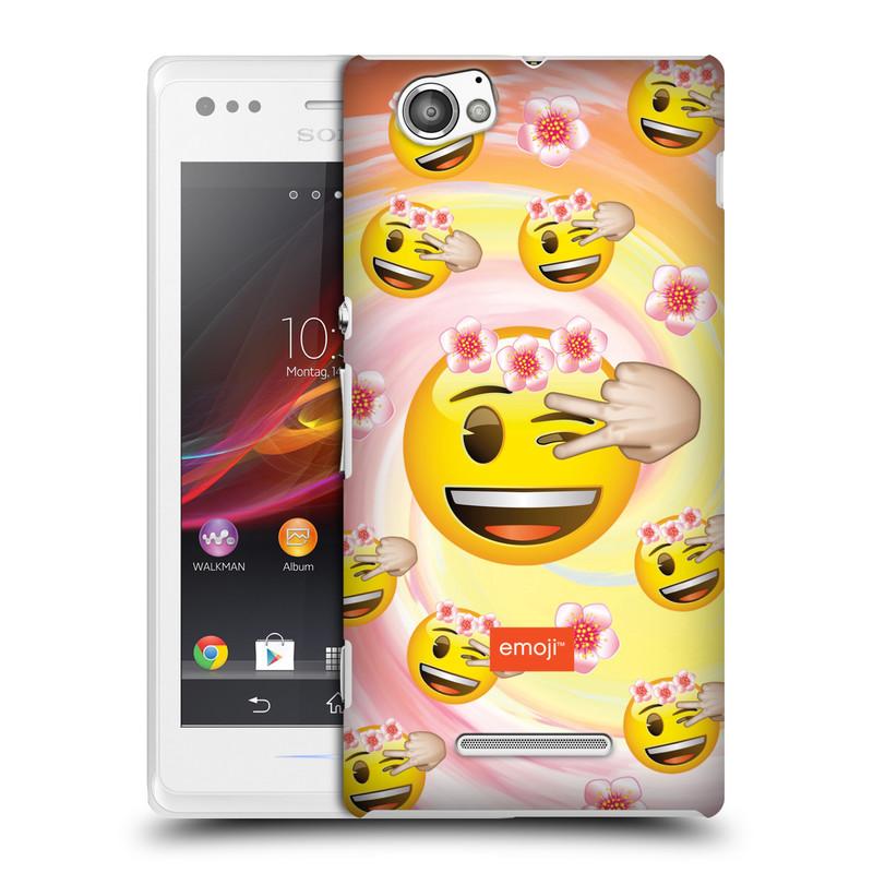 Plastové pouzdro na mobil Sony Xperia M C1905 HEAD CASE EMOJI - Mrkající smajlíci a kytičky (Kryt či obal s oficiálním motivem EMOJI na mobilní telefon Sony Xperia M )