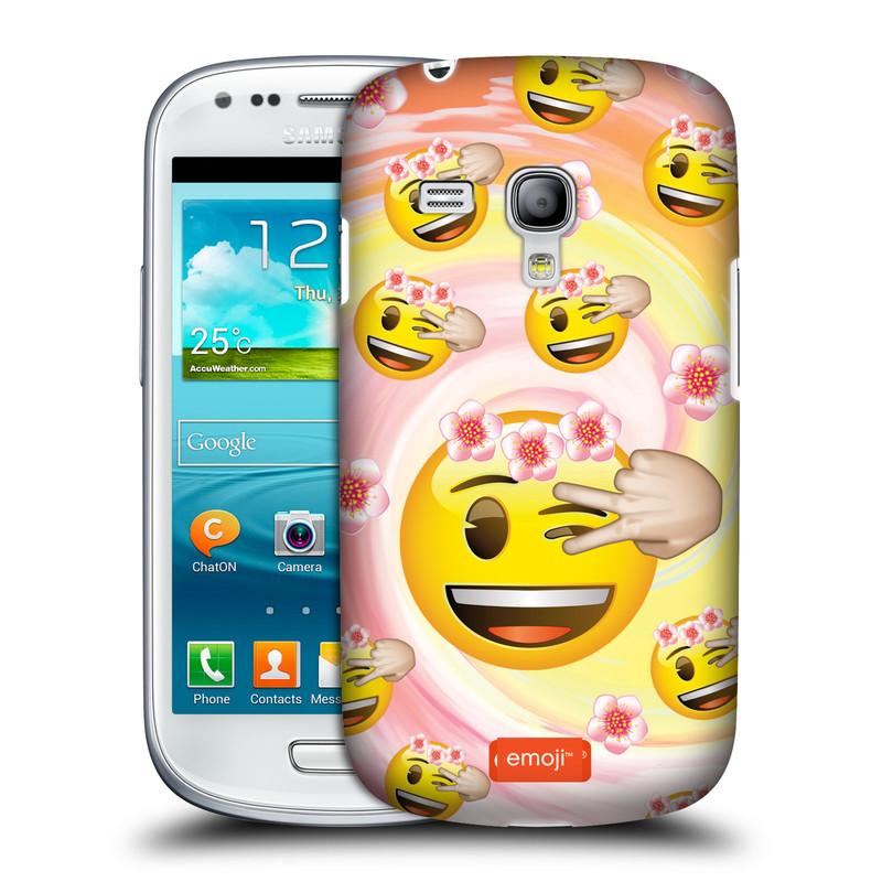 Silikonové pouzdro na mobil Samsung Galaxy S III Mini VE HEAD CASE EMOJI - Mrkající smajlíci a kytičky (Kryt či obal s oficiálním motivem EMOJI na mobilní telefon Samsung Galaxy S3 Mini VE GT-i8200)