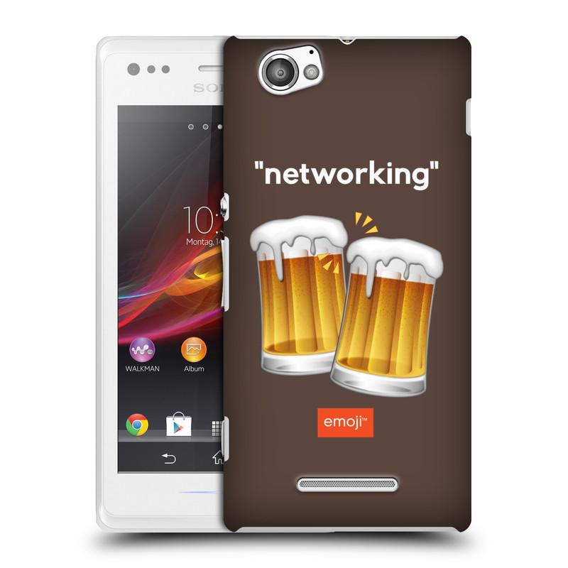 Plastové pouzdro na mobil Sony Xperia M C1905 HEAD CASE EMOJI - Pivní networking (Kryt či obal s oficiálním motivem EMOJI na mobilní telefon Sony Xperia M )