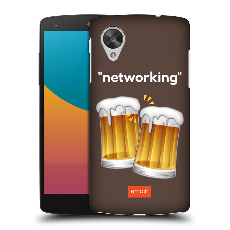 Plastové pouzdro na mobil LG Nexus 5 HEAD CASE EMOJI - Pivní networking (Kryt či obal s oficiálním motivem EMOJI na mobilní telefon LG Google Nexus 5 D821)