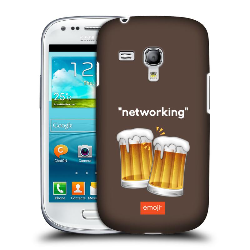 Silikonové pouzdro na mobil Samsung Galaxy S III Mini VE HEAD CASE EMOJI - Pivní networking (Kryt či obal s oficiálním motivem EMOJI na mobilní telefon Samsung Galaxy S3 Mini VE GT-i8200)
