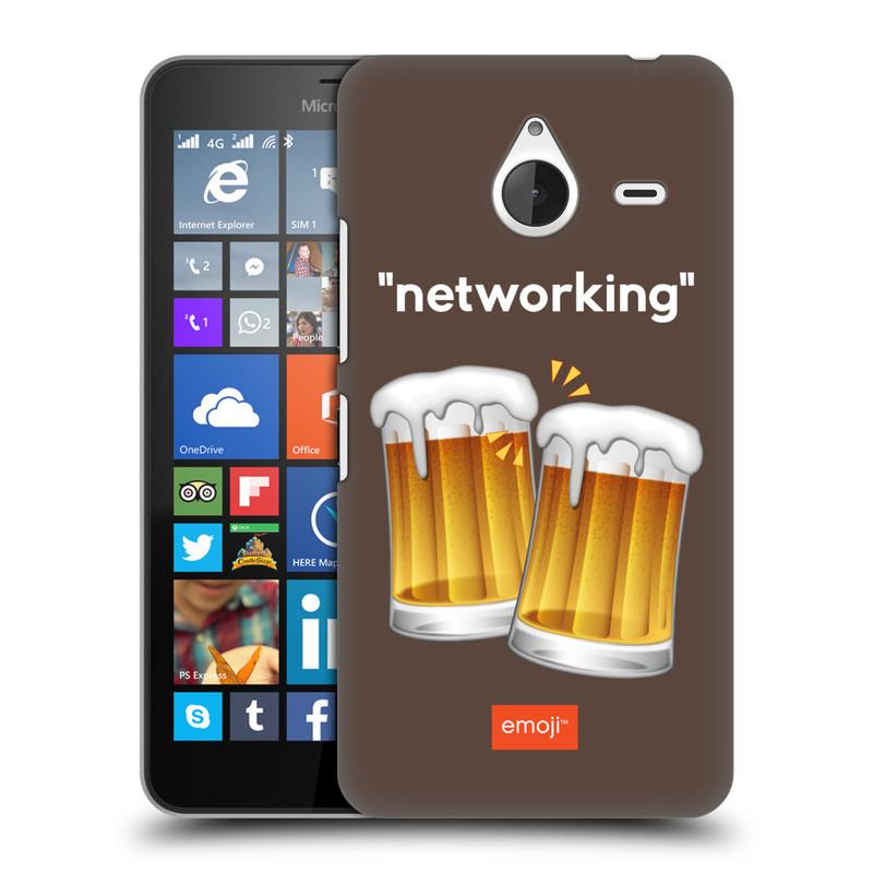 Plastové pouzdro na mobil Microsoft Lumia 640 XL HEAD CASE EMOJI - Pivní networking (Kryt či obal s oficiálním motivem EMOJI na mobilní telefon Microsoft Lumia 640 XL)