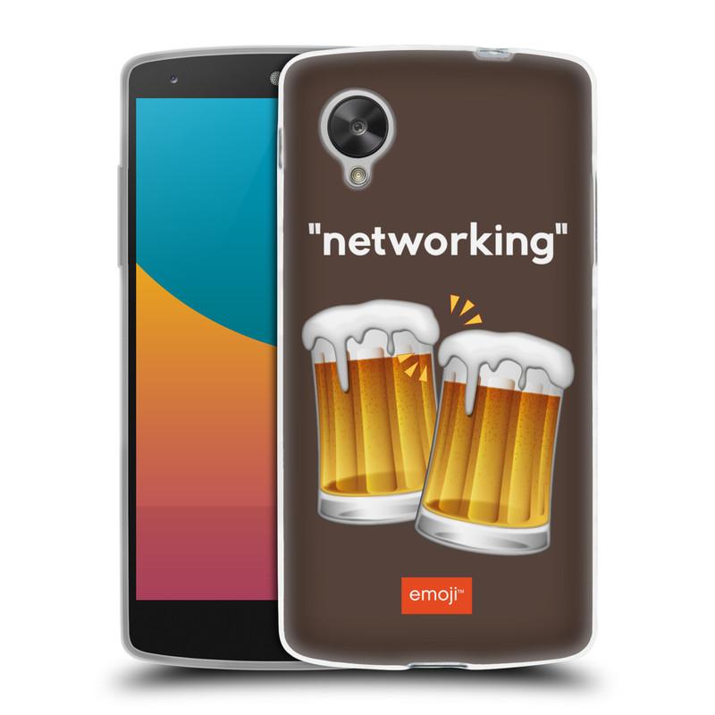 Silikonové pouzdro na mobil LG Nexus 5 HEAD CASE EMOJI - Pivní networking (Silikonový kryt či obal s oficiálním motivem EMOJI na mobilní telefon LG Google Nexus 5 D821)