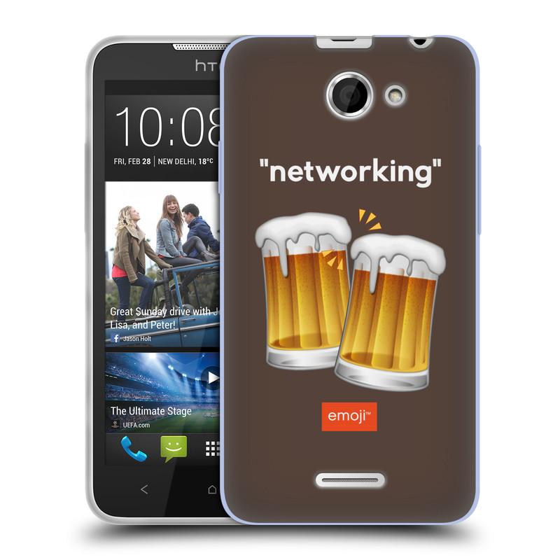 Silikonové pouzdro na mobil HTC Desire 516 HEAD CASE EMOJI - Pivní networking (Silikonový kryt či obal s oficiálním motivem EMOJI na mobilní telefon HTC Desire 516 Dual SIM)
