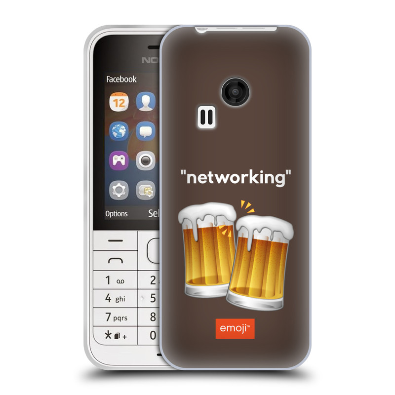 Silikonové pouzdro na mobil Nokia 220 HEAD CASE EMOJI - Pivní networking (Silikonový kryt či obal s oficiálním motivem EMOJI na mobilní telefon Nokia 220 a 220 Dual SIM)