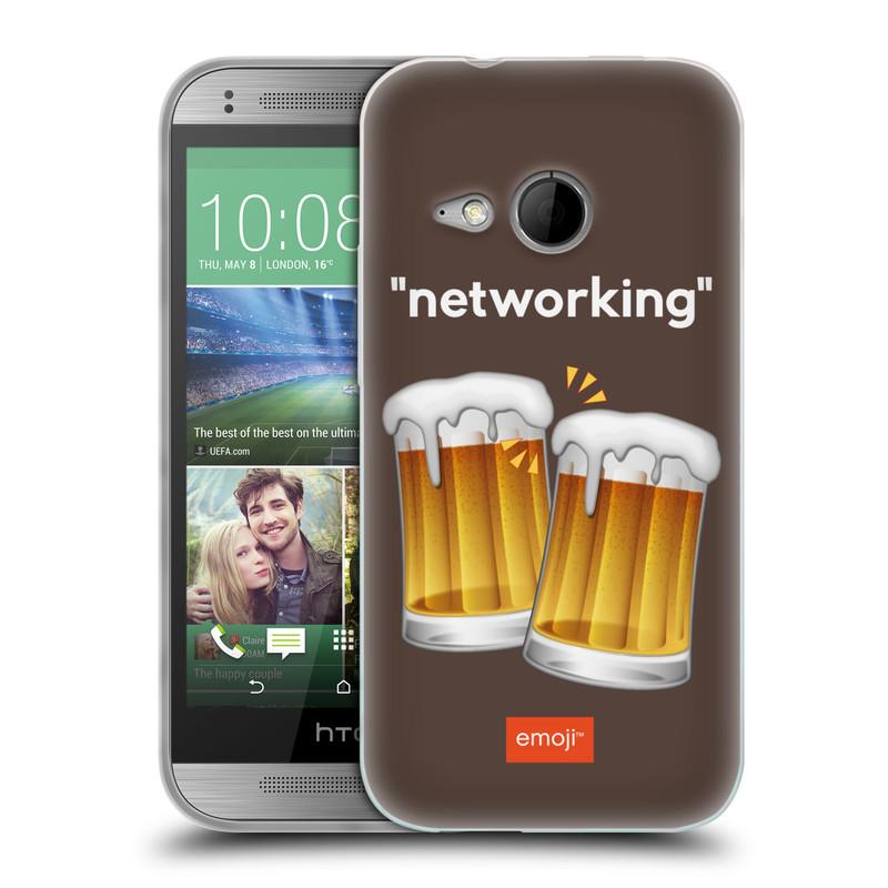 Silikonové pouzdro na mobil HTC ONE Mini 2 HEAD CASE EMOJI - Pivní networking (Silikonový kryt či obal s oficiálním motivem EMOJI na mobilní telefon HTC ONE Mini 2)