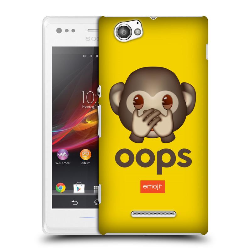 Plastové pouzdro na mobil Sony Xperia M C1905 HEAD CASE EMOJI - Opička OOPS (Kryt či obal s oficiálním motivem EMOJI na mobilní telefon Sony Xperia M )