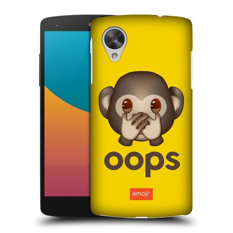 Plastové pouzdro na mobil LG Nexus 5 HEAD CASE EMOJI - Opička OOPS (Kryt či obal s oficiálním motivem EMOJI na mobilní telefon LG Google Nexus 5 D821)