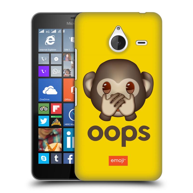 Plastové pouzdro na mobil Microsoft Lumia 640 XL HEAD CASE EMOJI - Opička OOPS (Kryt či obal s oficiálním motivem EMOJI na mobilní telefon Microsoft Lumia 640 XL)