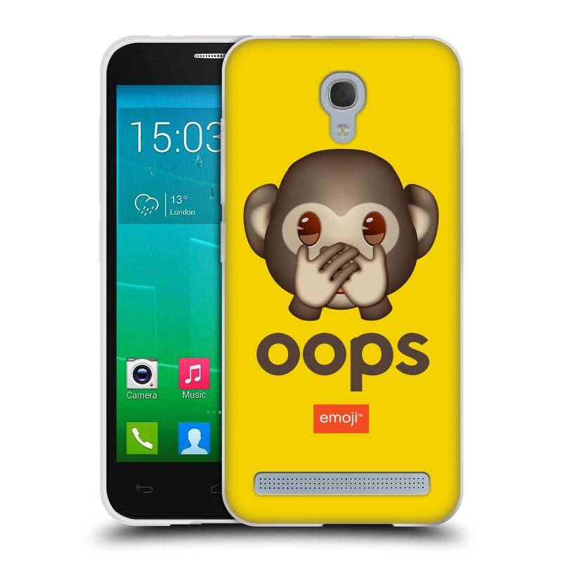 Silikonové pouzdro na mobil Alcatel One Touch Idol 2 Mini S 6036Y HEAD CASE EMOJI - Opička OOPS (Silikonový kryt či obal s oficiálním motivem EMOJI na mobilní telefon Alcatel Idol 2 Mini S OT-6036Y)