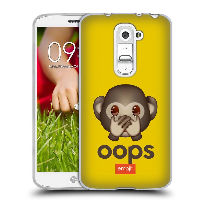 Silikonové pouzdro na mobil LG G2 Mini HEAD CASE EMOJI - Opička OOPS (Silikonový kryt či obal s oficiálním motivem EMOJI na mobilní telefon LG G2 Mini D620)