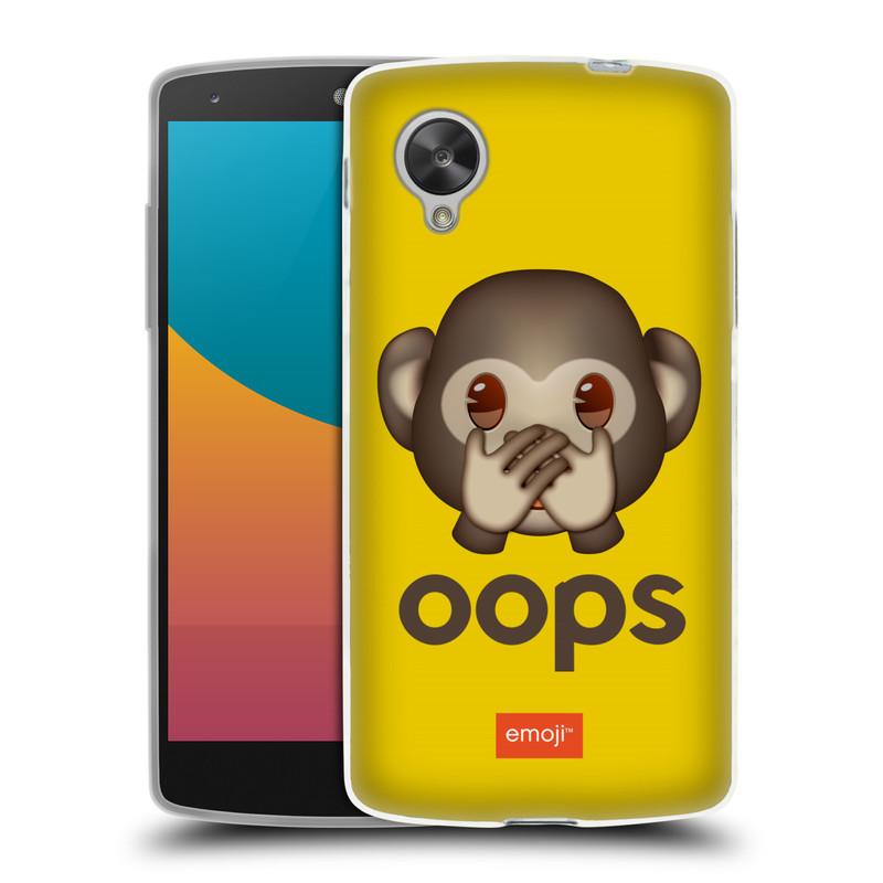 Silikonové pouzdro na mobil LG Nexus 5 HEAD CASE EMOJI - Opička OOPS (Silikonový kryt či obal s oficiálním motivem EMOJI na mobilní telefon LG Google Nexus 5 D821)