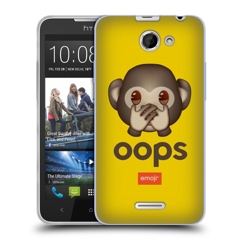 Silikonové pouzdro na mobil HTC Desire 516 HEAD CASE EMOJI - Opička OOPS (Silikonový kryt či obal s oficiálním motivem EMOJI na mobilní telefon HTC Desire 516 Dual SIM)
