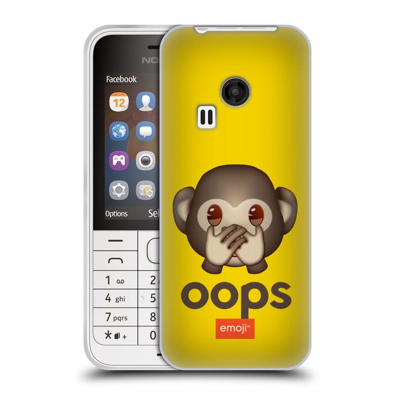 Silikonové pouzdro na mobil Nokia 220 HEAD CASE EMOJI - Opička OOPS (Silikonový kryt či obal s oficiálním motivem EMOJI na mobilní telefon Nokia 220 a 220 Dual SIM)