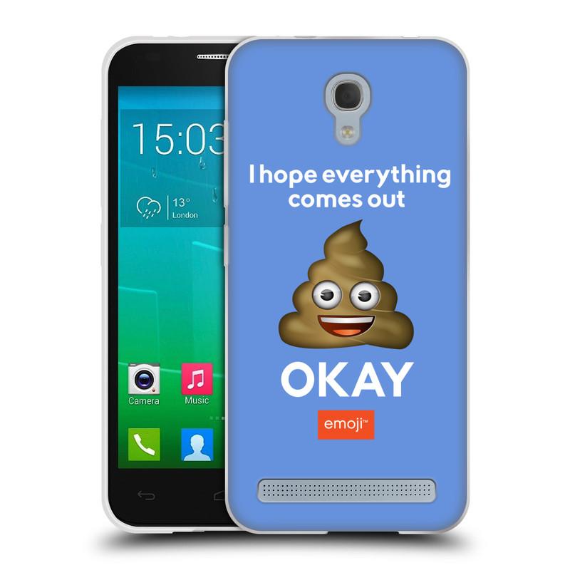 Silikonové pouzdro na mobil Alcatel One Touch Idol 2 Mini S 6036Y HEAD CASE EMOJI - Hovínko OKAY (Silikonový kryt či obal s oficiálním motivem EMOJI na mobilní telefon Alcatel Idol 2 Mini S OT-6036Y)