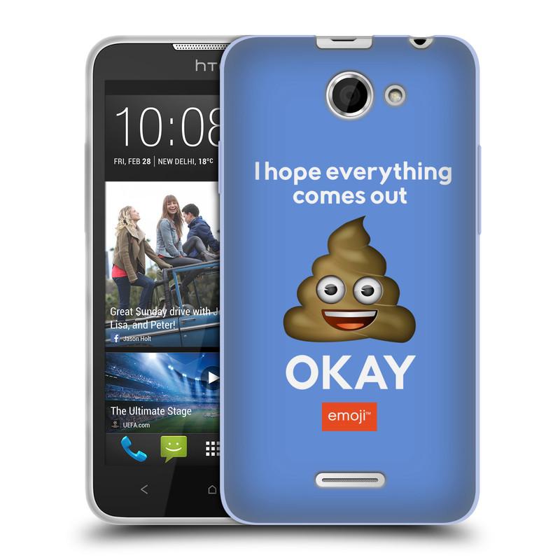 Silikonové pouzdro na mobil HTC Desire 516 HEAD CASE EMOJI - Hovínko OKAY (Silikonový kryt či obal s oficiálním motivem EMOJI na mobilní telefon HTC Desire 516 Dual SIM)
