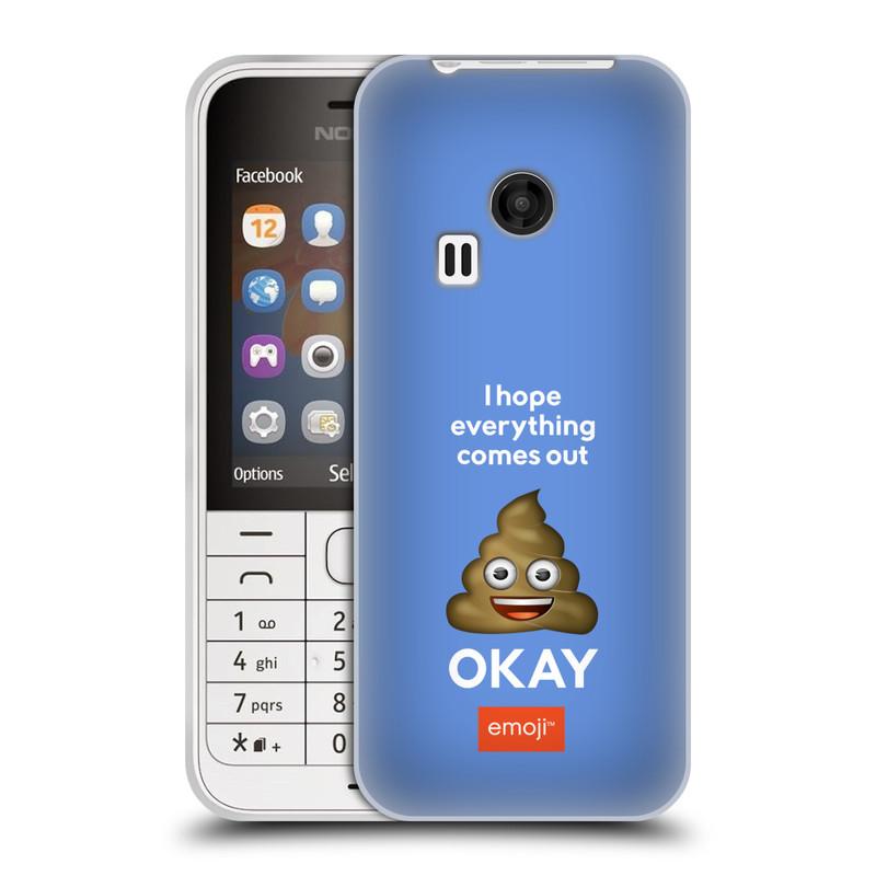 Silikonové pouzdro na mobil Nokia 220 HEAD CASE EMOJI - Hovínko OKAY (Silikonový kryt či obal s oficiálním motivem EMOJI na mobilní telefon Nokia 220 a 220 Dual SIM)