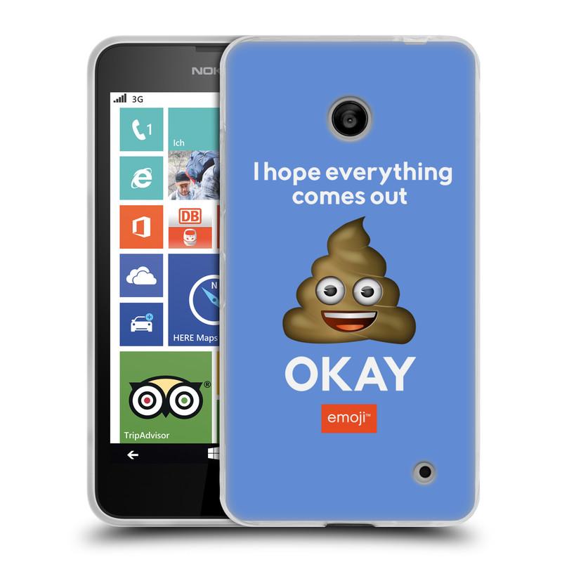 Silikonové pouzdro na mobil Nokia Lumia 635 HEAD CASE EMOJI - Hovínko OKAY (Silikonový kryt či obal s oficiálním motivem EMOJI na mobilní telefon Nokia Lumia 635 Dual SIM)
