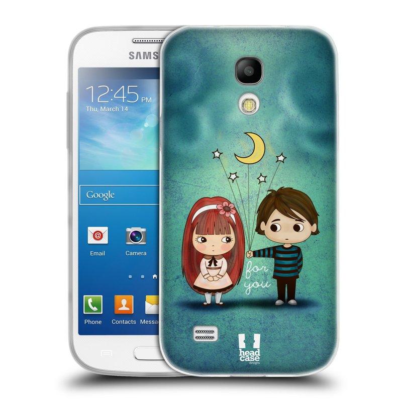 Silikonové pouzdro na mobil Samsung Galaxy S4 Mini VE HEAD CASE Emo Love při Měsíčku (Silikonový kryt či obal na mobilní telefon Samsung Galaxy S4 Mini VE GT-i9195i (nepasuje na verzi Black Edition))