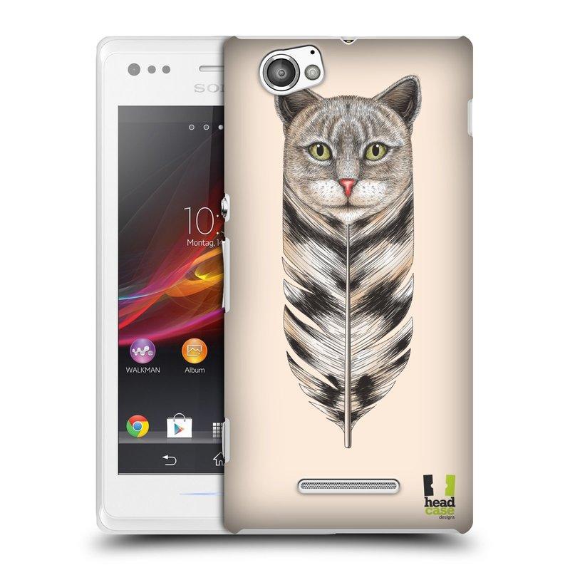 Plastové pouzdro na mobil Sony Xperia M C1905 HEAD CASE PÍRKO KOČKA (Kryt či obal na mobilní telefon Sony Xperia M a M Dual)