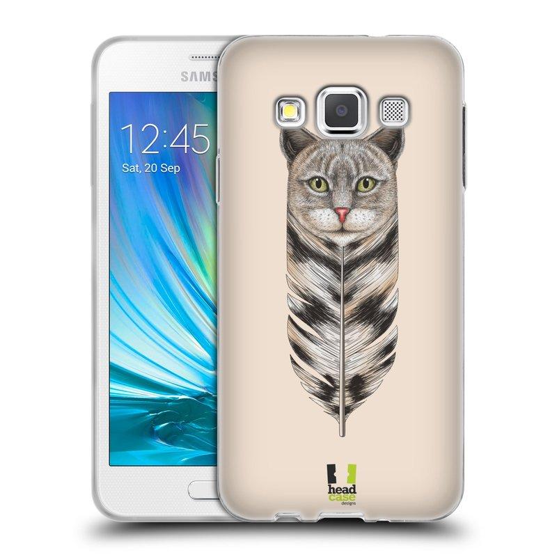 Silikonové pouzdro na mobil Samsung Galaxy A3 HEAD CASE PÍRKO KOČKA (Silikonový kryt či obal na mobilní telefon Samsung Galaxy A3 SM-A300)