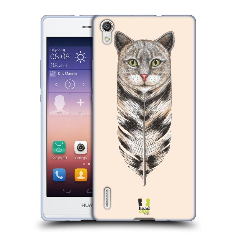 Silikonové pouzdro na mobil Huawei P7 HEAD CASE PÍRKO KOČKA (Silikonový kryt či obal na mobilní telefon Huawei Ascend P7)