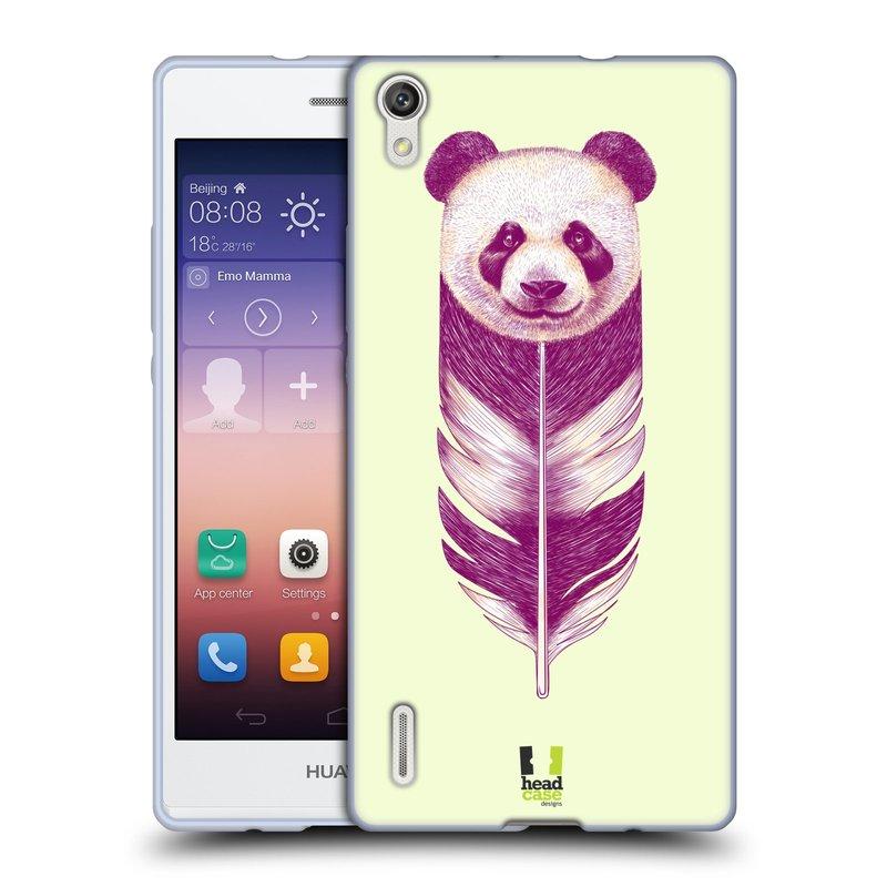 Silikonové pouzdro na mobil Huawei P7 HEAD CASE PÍRKO PANDA (Silikonový kryt či obal na mobilní telefon Huawei Ascend P7)