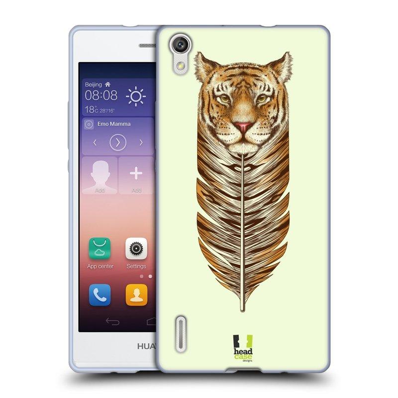 Silikonové pouzdro na mobil Huawei P7 HEAD CASE PÍRKO TYGR (Silikonový kryt či obal na mobilní telefon Huawei Ascend P7)