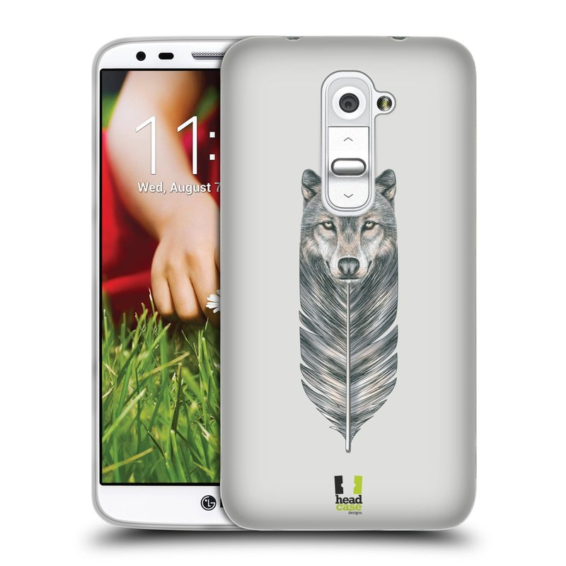 Silikonové pouzdro na mobil LG G2 HEAD CASE PÍRKO VLK (Silikonový kryt či obal na mobilní telefon LG G2 D802)