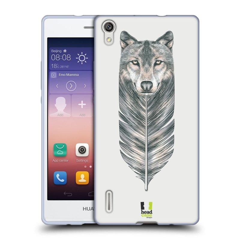 Silikonové pouzdro na mobil Huawei P7 HEAD CASE PÍRKO VLK (Silikonový kryt či obal na mobilní telefon Huawei Ascend P7)
