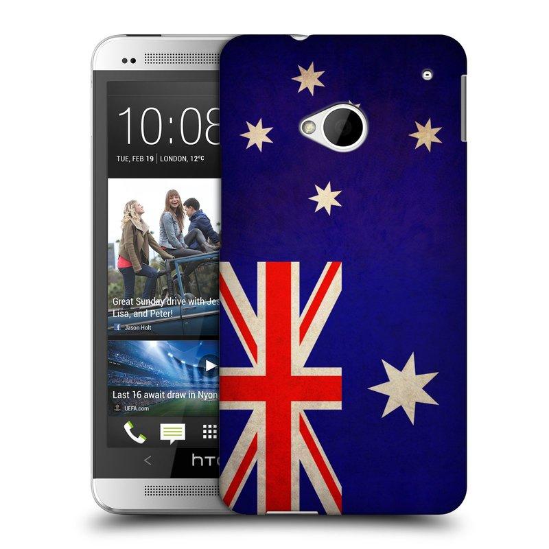 Plastové pouzdro na mobil HTC ONE M7 HEAD CASE VLAJKA AUSTRÁLIE (Kryt či obal na mobilní telefon HTC ONE M7)