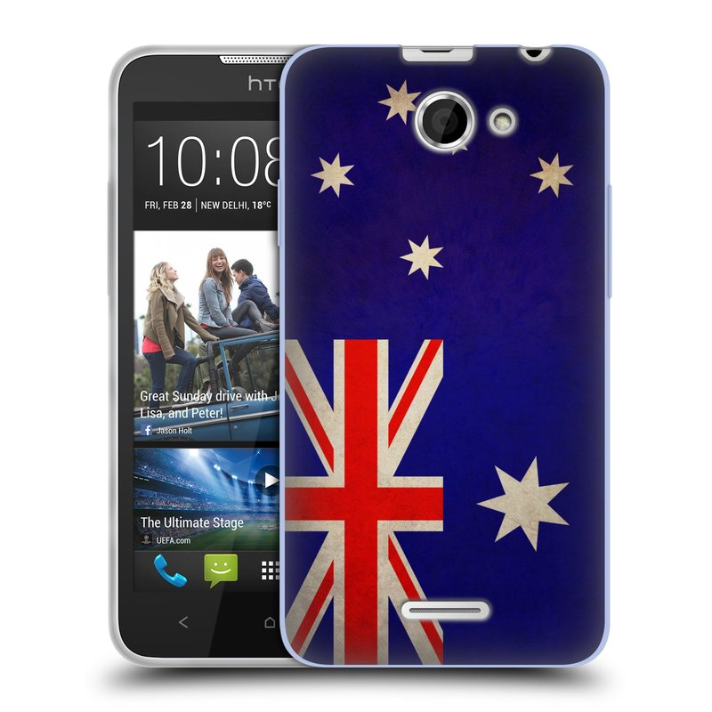 Silikonové pouzdro na mobil HTC Desire 516 HEAD CASE VLAJKA AUSTRÁLIE (Silikonový kryt či obal na mobilní telefon HTC Desire 516 Dual SIM)