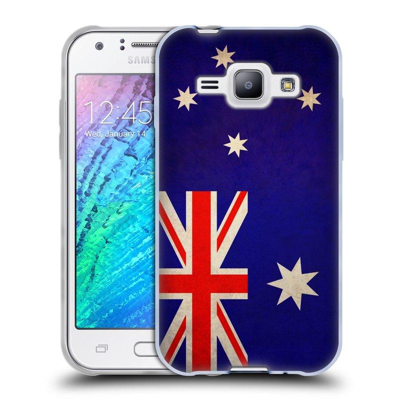 Silikonové pouzdro na mobil Samsung Galaxy J1 HEAD CASE VLAJKA AUSTRÁLIE (Silikonový kryt či obal na mobilní telefon Samsung Galaxy J1 a J1 Duos)
