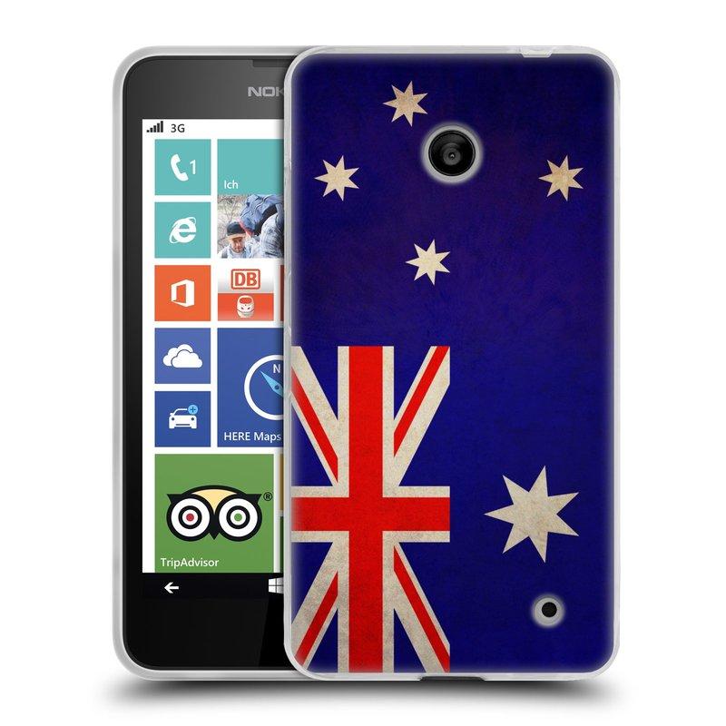 Silikonové pouzdro na mobil Nokia Lumia 630 HEAD CASE VLAJKA AUSTRÁLIE (Silikonový kryt či obal na mobilní telefon Nokia Lumia 630 a Nokia Lumia 630 Dual SIM)