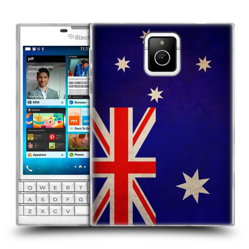 Silikonové pouzdro na mobil Blackberry PASSPORT HEAD CASE VLAJKA AUSTRÁLIE (Silikonový kryt či obal na mobilní telefon Blackberry PASSPORT)