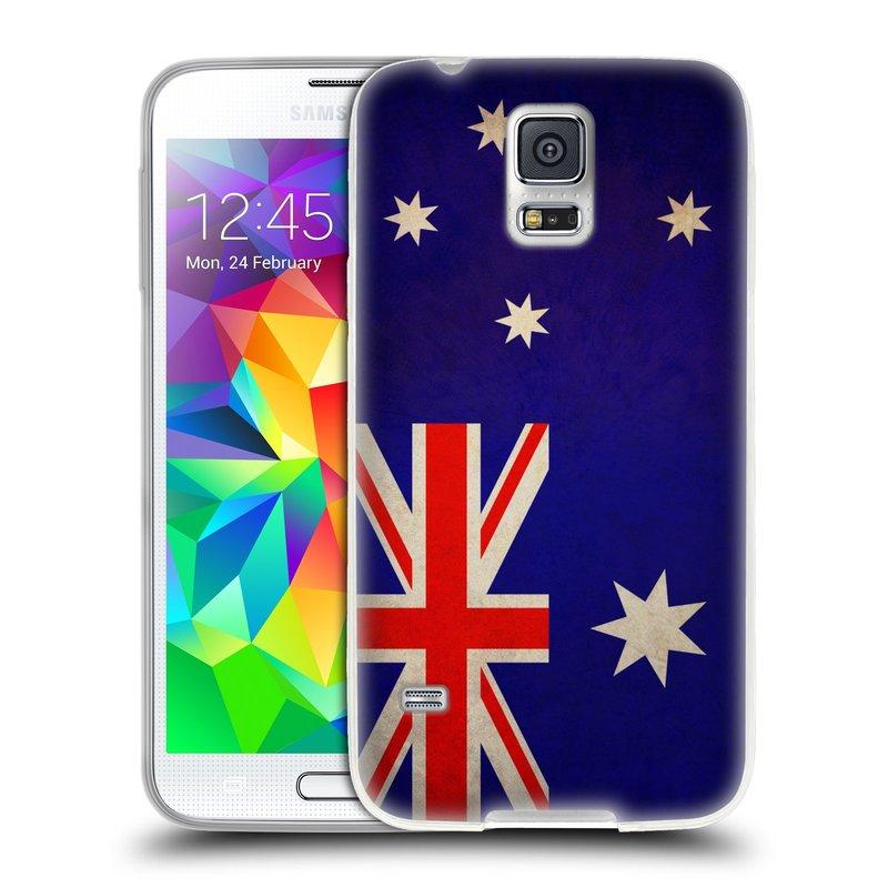 Silikonové pouzdro na mobil Samsung Galaxy S5 HEAD CASE VLAJKA AUSTRÁLIE (Silikonový kryt či obal na mobilní telefon Samsung Galaxy S5 SM-G900F)