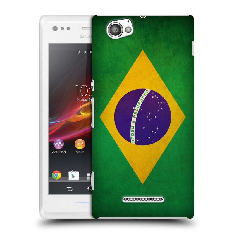 Plastové pouzdro na mobil Sony Xperia M C1905 HEAD CASE VLAJKA BRAZÍLIE (Kryt či obal na mobilní telefon Sony Xperia M )