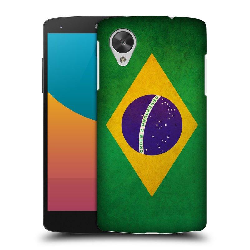 Plastové pouzdro na mobil LG Nexus 5 HEAD CASE VLAJKA BRAZÍLIE (Kryt či obal na mobilní telefon LG Google Nexus 5 D821)
