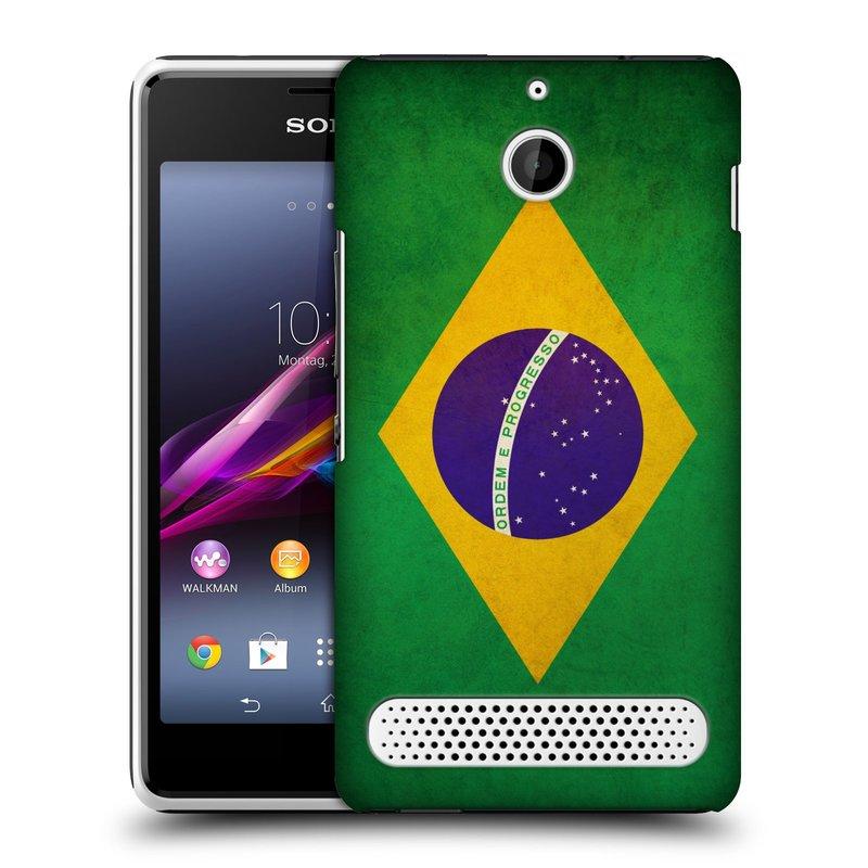 Plastové pouzdro na mobil Sony Xperia E1 D2005 HEAD CASE VLAJKA BRAZÍLIE (Kryt či obal na mobilní telefon Sony Xperia E1 a E1 Dual)