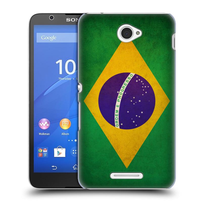 Plastové pouzdro na mobil Sony Xperia E4 E2105 HEAD CASE VLAJKA BRAZÍLIE (Kryt či obal na mobilní telefon Sony Xperia E4 a E4 Dual SIM)