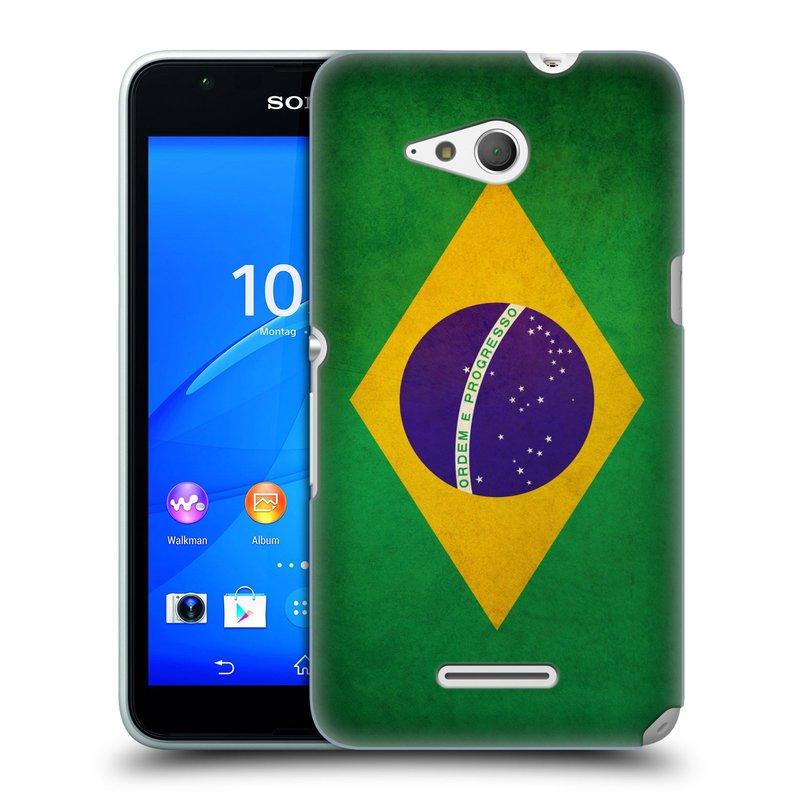 Plastové pouzdro na mobil Sony Xperia E4g E2003 HEAD CASE VLAJKA BRAZÍLIE (Kryt či obal na mobilní telefon Sony Xperia E4g a E4g Dual SIM)