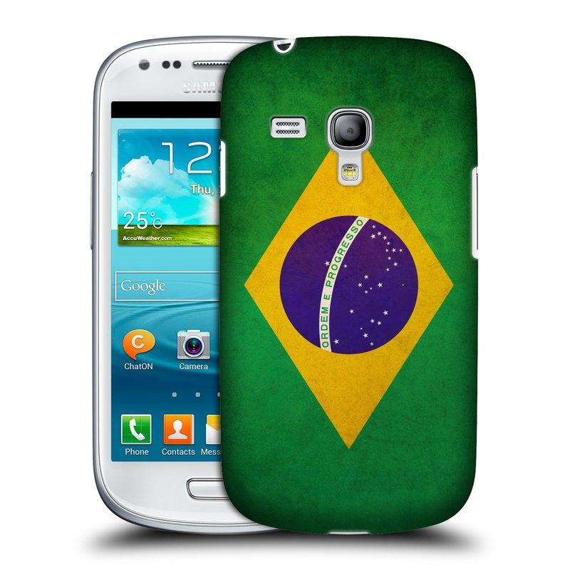 Plastové pouzdro na mobil Samsung Galaxy S III Mini HEAD CASE VLAJKA BRAZÍLIE (Kryt či obal na mobilní telefon Samsung Galaxy S III Mini GT-i8190)