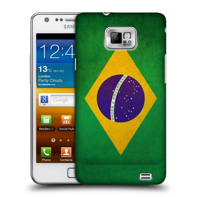 Plastové pouzdro na mobil Samsung Galaxy S II HEAD CASE VLAJKA BRAZÍLIE (Kryt či obal na mobilní telefon Samsung Galaxy S II GT-i9100)