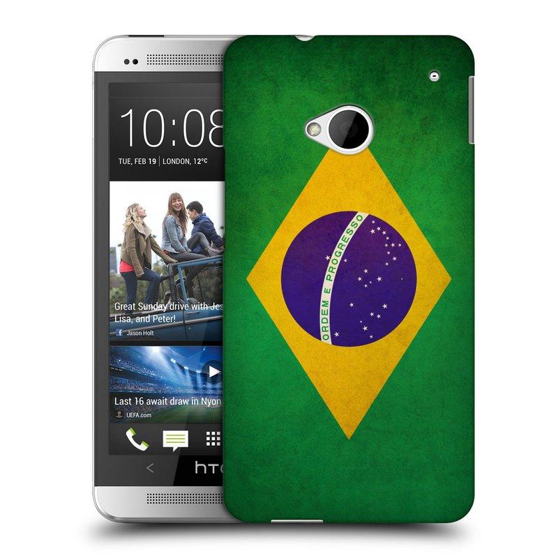 Plastové pouzdro na mobil HTC ONE M7 HEAD CASE VLAJKA BRAZÍLIE (Kryt či obal na mobilní telefon HTC ONE M7)