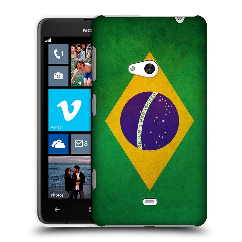 Plastové pouzdro na mobil Nokia Lumia 625 HEAD CASE VLAJKA BRAZÍLIE (Kryt či obal na mobilní telefon Nokia Lumia 625)