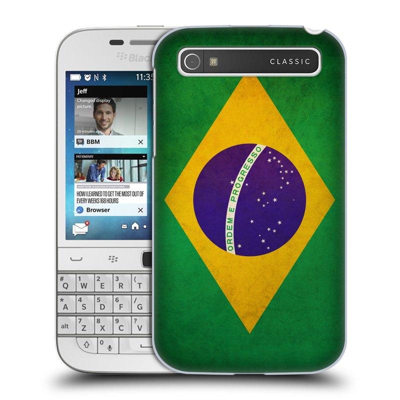 Plastové pouzdro na mobil Blackberry Classic HEAD CASE VLAJKA BRAZÍLIE (Kryt či obal na mobilní telefon Blackberry Classic)