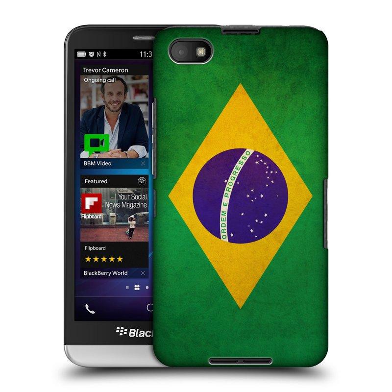 Plastové pouzdro na mobil Blackberry Z30 HEAD CASE VLAJKA BRAZÍLIE (Kryt či obal na mobilní telefon Blackberry Z30)
