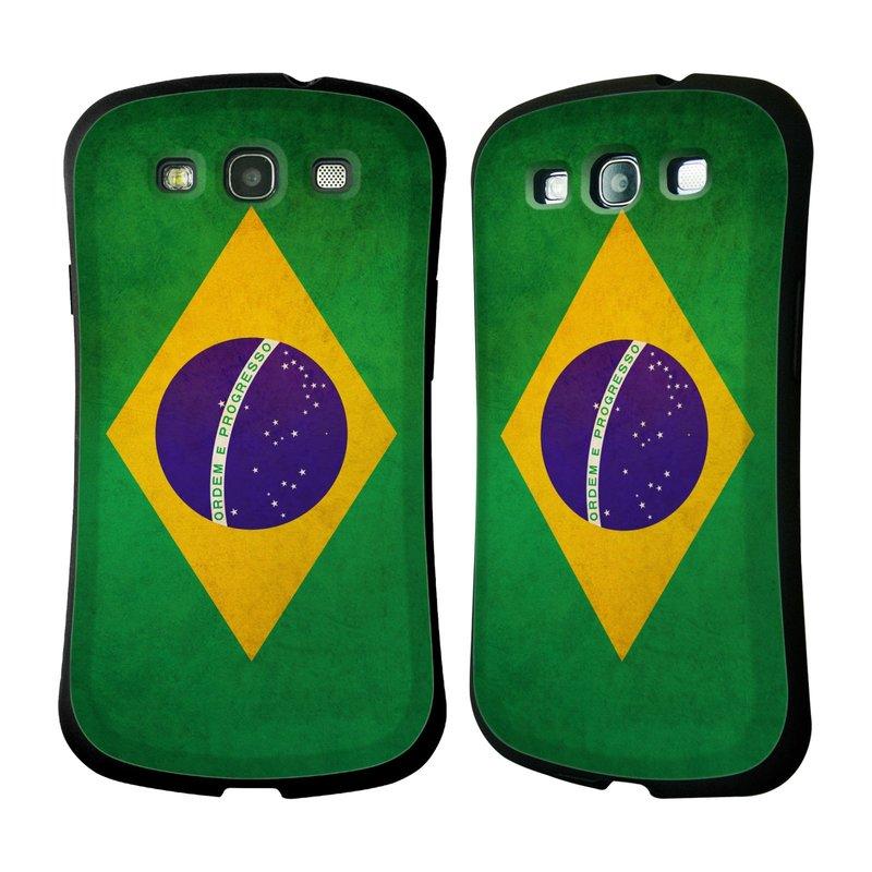 Nárazuvzdorné pouzdro na mobil Samsung Galaxy S III HEAD CASE VLAJKA BRAZÍLIE (Odolný nárazuvzdorný silikonový kryt či obal na mobilní telefon Samsung Galaxy S III GT-i9300)