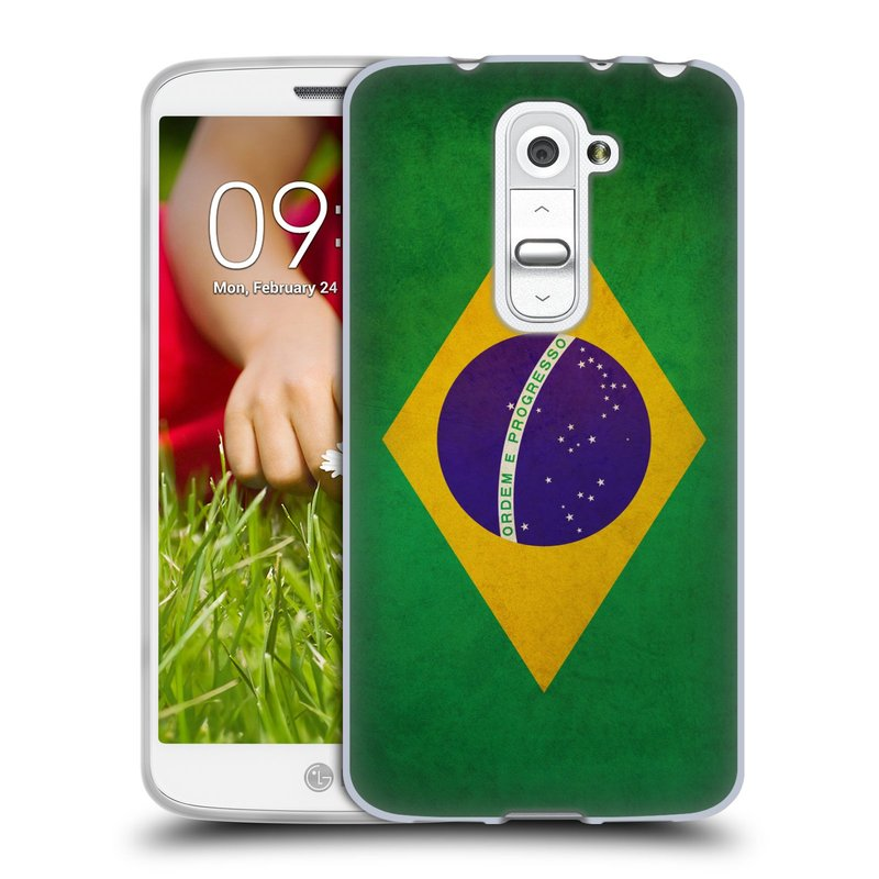 Silikonové pouzdro na mobil LG G2 Mini HEAD CASE VLAJKA BRAZÍLIE (Silikonový kryt či obal na mobilní telefon LG G2 Mini D620)