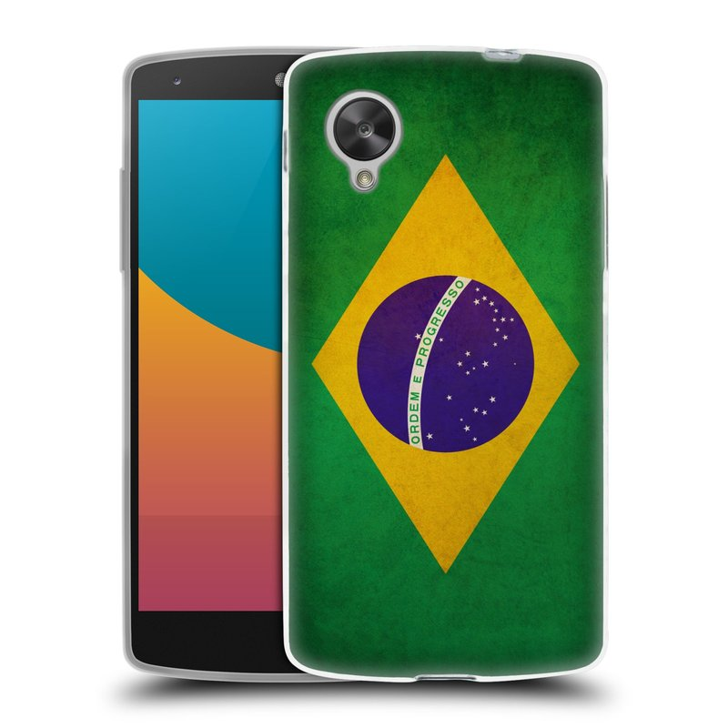 Silikonové pouzdro na mobil LG Nexus 5 HEAD CASE VLAJKA BRAZÍLIE (Silikonový kryt či obal na mobilní telefon LG Google Nexus 5 D821)